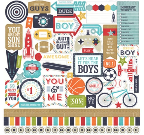 стикеры «that's my boy element sticker sheet», 30*30 см