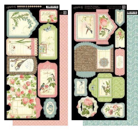 стикеры двустор. «botanical tea tags & pockets» 15х30см, 2шт